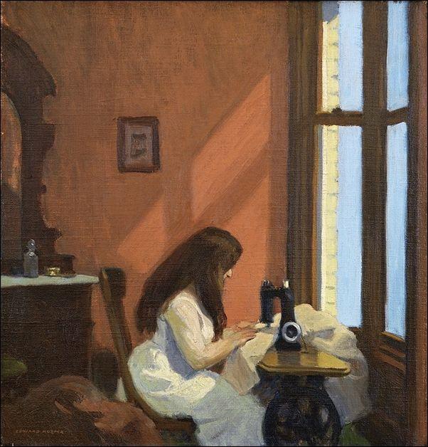 Dziewczyna przy maszynie do szycia, Hopper 1921