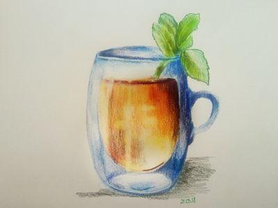 Rysunek krok po kroku – szklanka herbaty