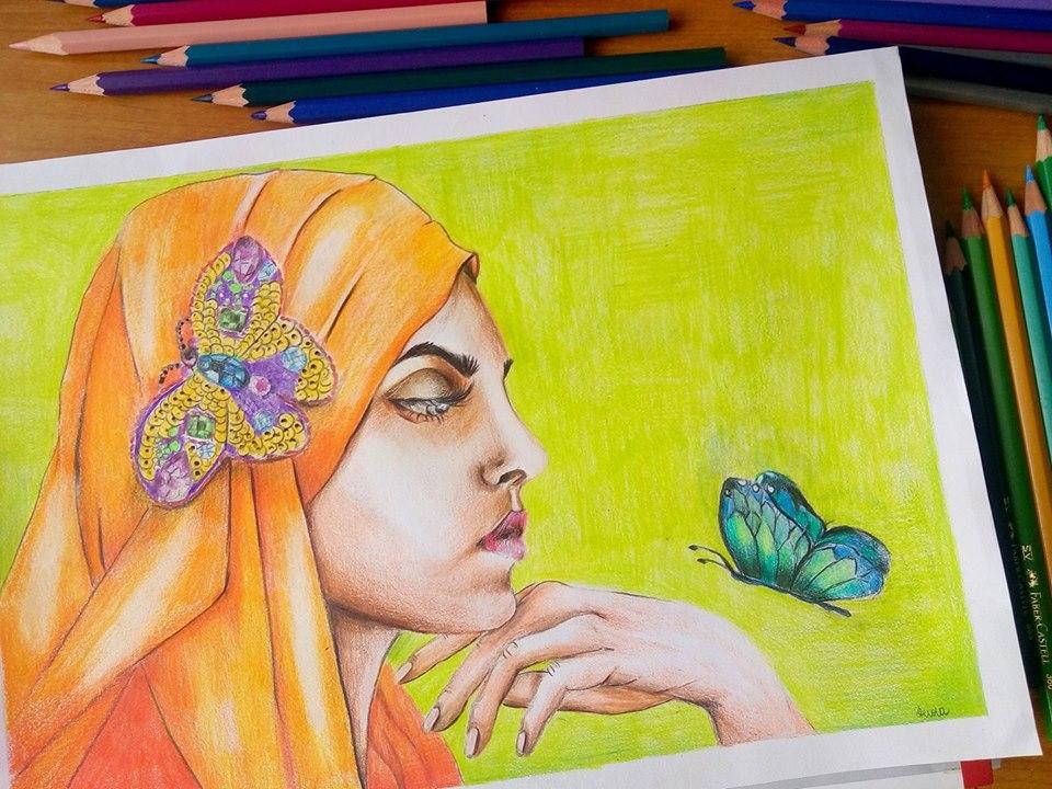 rysunek kobiety z motylem na zamówienie